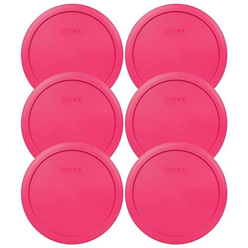 Pyrex 7402-pc 7taza color fucsia Rosa Redondo Tapa de plástico (6, fucsia rosa)
