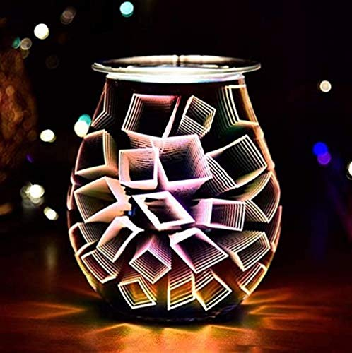 APXZC 3D Firework Aroma Lamp Controllable Electric Wax Burner Wax Melt Burner Warmer Melter for Home Office Bedroom Living Room Gifts (Color : Firework)-SQUARE