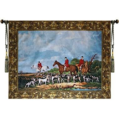 Beautiful Fox Hunting Horse Dogs Fine Tapestry Jacquard Woven Wall Hanging Art Decor
