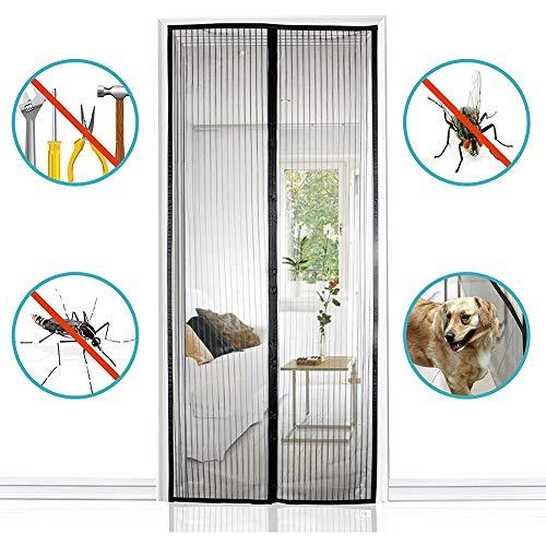 ZYQZYQ Magnetische Maschentür Bildschirm Magnetische Schiebetür Vorhang Moskitonetz Balkon Tür Aufkleber Anti Moskito Insekt Fly Bug Vorhänge,Black-210 * 90cm