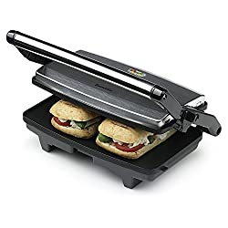 ideal for panini, ciabatta, tea cakes, crumpets, and for warming pittas, flour tortillas and naan bread Hinged lid for toasting different sandwich thicknesses and cool touch handle Locking mechanism to allow convenient upright storage Flat non-stick ...