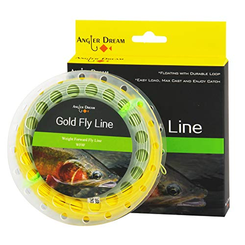 ANGLER DREAM Gold Fly Line 90FT Weight Forward Floating 9WT Fly Fishing Line