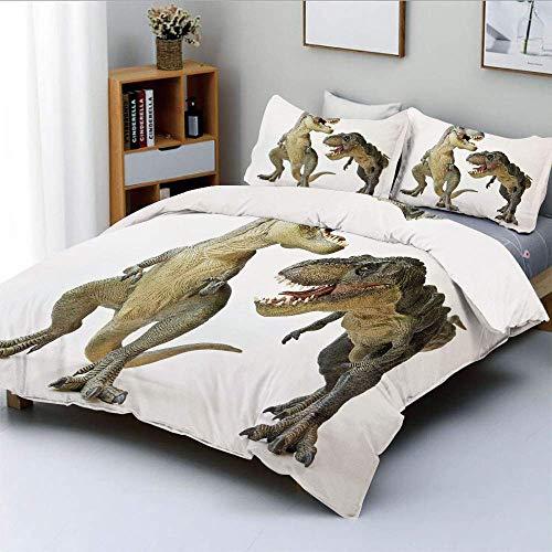 Juego de funda nórdica, pareja de Tyrannosaurus Rex frente a criaturas feroces, depredadores prehistóricos, juego de cama decorativo decorativo de 3 piezas con 2 fundas de almohada, marfil marrón gris