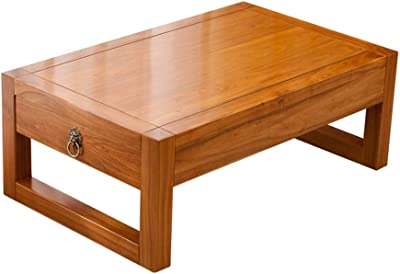 European Style Living Room Mini Table Lovely Coffee Table in The Bedroom Japanese Small Table Bay Window Small Table Small Table with Storage (Color : Wood Color, Size : 60cm*40cm*30cm)