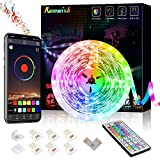 LED Strip Light 5M,Romwish 16.4FT RGB SMD 5050 Bluetooth Music Sync Smart Color Changing Rope Lights, 44 Keys Remote Control, Timing Function,with for Kitchen, Bedroom, TV, Party