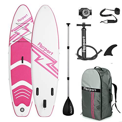 FBSPORT Aufblasbares SUP Stand-Up Paddel Board 15cm Dick, iSUP Paddle Board mit Pumpe + 3-TLG verstellbares Alu-Paddel + Paddelbrett Pumpe