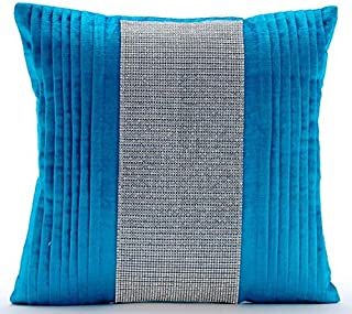 Decorative Blue Designer Pillow Covers 16x16 inch, Velvet Accent ThrowPillows, Striped, Pintucks, Textured, Striped, Crystals, Modern Cushion Coverfor Sofa - Diamante Dance