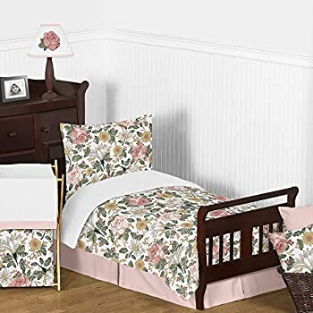 Sweet Jojo Designs Vintage Floral Boho Girl Toddler Kid Childrens Comforter Bedding Set - 5 Pieces Comforter Sham and Sheets - Blush Pink Yellow Green and White Shabby Chic Rose Flower Farmhouse