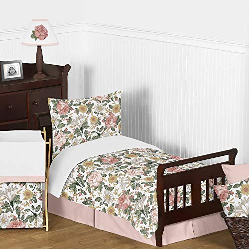Sweet Jojo Designs Vintage Floral Boho Girl Toddler Kid Childrens Comforter Bedding Set - 5 Pieces Comforter, Sham and Sheets - Blush Pink, Yellow, Green and White Shabby Chic Rose Flower Farmhouse