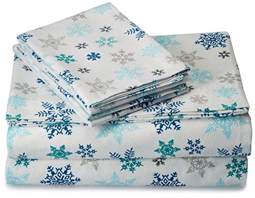 Eddie Bauer Tossed Snowflake Flannel Sheet Set, Full
