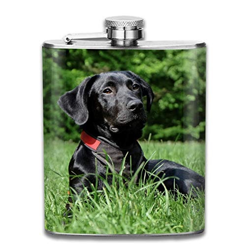 Presock Fiaschetta Acciaio,Black Labrador Dog Fashion Portable Stainless Steel Hip Flask Whiskey Bottle for Men and Women 7 Oz