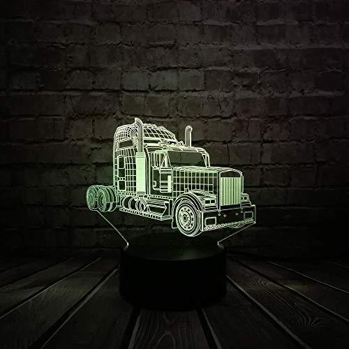 Lámpara de ilusión LED 3D para coche, luz nocturna, mesita de noche óptica, luces nocturnas, 16 botones táctiles que cambian de color, decoración, lámparas de escritorio,