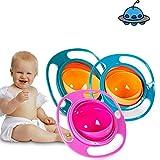 AMZYY Baby Anti Spill Bowl 360 Rotate Gyro Gravity Taza De Entrenamiento De Alimentación para Niños,Blue