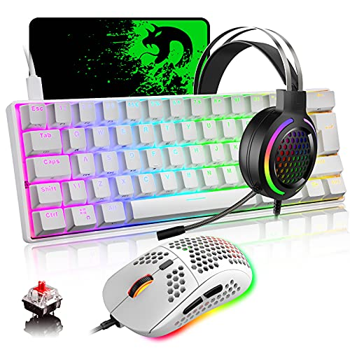 60% Mechanical Gaming Keyboard Mouse and Headset Combo with Rainbow Backlit Anti-ghosting 61 Key Adjustable Microphone 6400DPI Honeycomb Mice USB Wired for PC Mac Gamer Typist(White RGB/Red Switch)