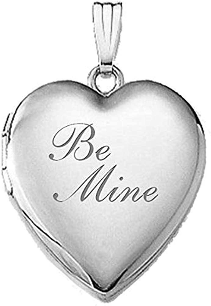 PicturesOnGold.com 14K White Gold Be Mine Locket - 3/4 Inch X 3/4 Inch in Solid 14K White Gold