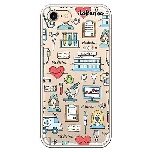 dakanna Custodia per [iPhone 7 - iPhone 8] Ospedale Cuore Ambulanza Medici Simboli, Cover in Gel di Silicone TPU Morbido di Alta qualità con [Sfondo Trasparente]