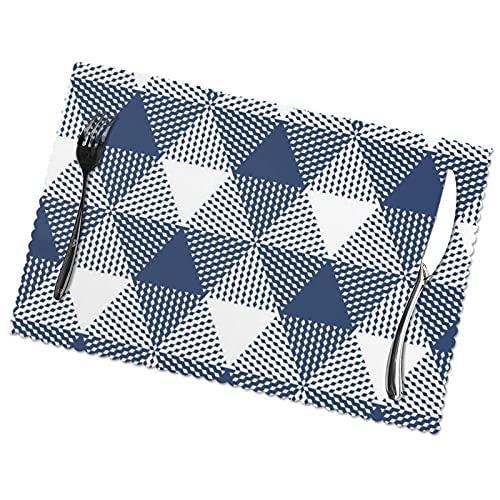 Manteles Individuales para Comedor, Cocina, Mesa de Restaurante, Gran triángulo a Cuadros Azul Marino y Blanco, 30 x 45 cm
