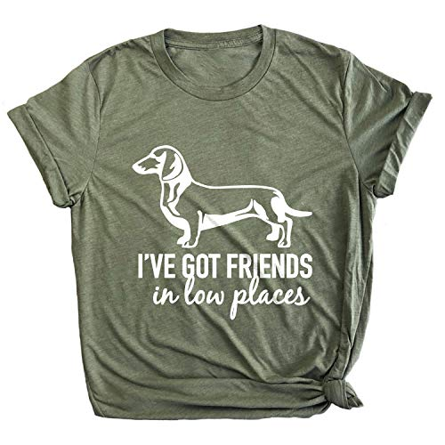Spunky Pineapple I've Got Friends in Low Places Funny Dachshund Premium T-Shirt Olive
