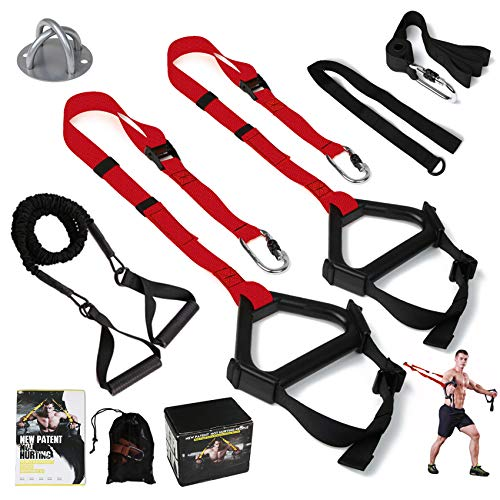 MOULYAN Bodyweight Resistance Training Straps Complete Home Gym Fitness Trainer kit for Full-Body...