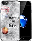8 Case/7 Case/IWONE Designer Non Slip Rubber Durable Protective Skin Transparent Cover Shockproof Compatible with iPhone 7/8 Creative Painting Basketball Writings Sports