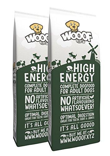 WOOOF High Energy | kaltgepresstes Hundefutter mit hohem Energieanteil | 28kg | Hundefutter mit Rind | natürliche Zutaten | hoher Fleischanteil | leicht verdaulich | Trockenfutter ohne Weizengluten