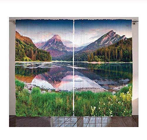 WKJHDFGB Vorhang Verdunkelung,Schweizer Obersee Landschaft,Erwachsene Kinderzimmer Verdunkelungsvorhänge Schimmelresistente Polyestergewebe Fenstervorhänge (2 Panel) 245X340Cm