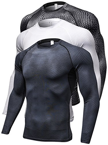 Queerier Men's Compression Shirts Long-Sleeve Tops Breathable Base Layers Gym Workout Running Shirts for Men 3 Pack