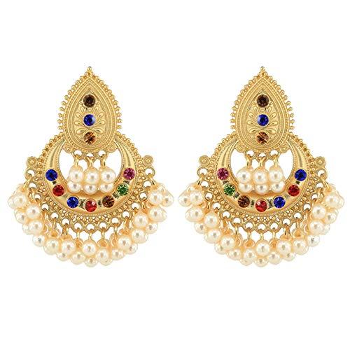Pendientes indios oro pendientes de oro linternas borlas grandes pendientes de tradición étnica pendientes joyas perlas