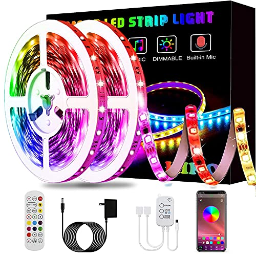 Led Strip Lights, KIKO 32.8ft Led Lights Smart Color Changing Rope Lights SMD 5050 RGB Light Strips with Bluetooth Controller Sync to Music Apply for TV, Bedroom, and Home Decoration