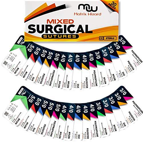 Sutures Thread with Needle (Mixed 30PK: Silk, Nylon, Polyester, Polypropylene) - Surgical Stitch...