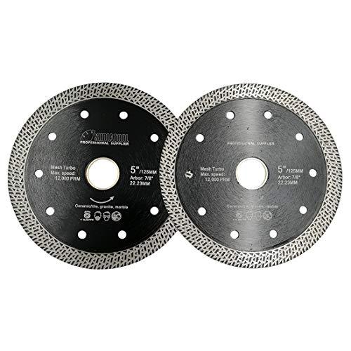 SHDIATOOL Disco Tronzador de Diamante 2 Piezas 125MM con Malla Turbo Hoja de Sierra para Porcelana Azulejos Cerámica Granito Mármol