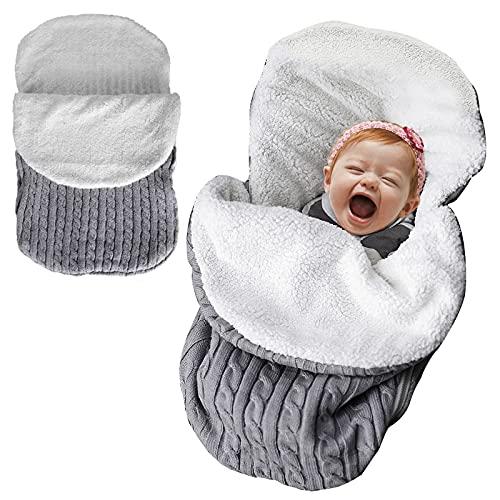 Bebé de Punto de Ganchillo Swaddle Wrap de Lana Pañales Manta Recibir Mantas Cochecito de Bebé Unisex Bolsa de Dormir para 0 a 12 Meses de Edad Niños Niñas (Gris)