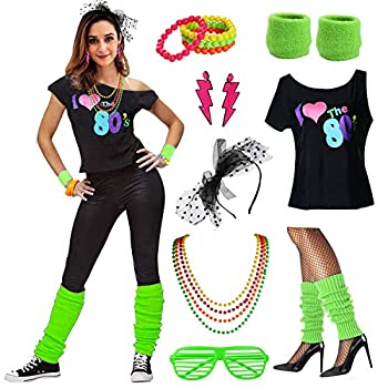 Neon Green I Love the 80s Fancy Dress Set
