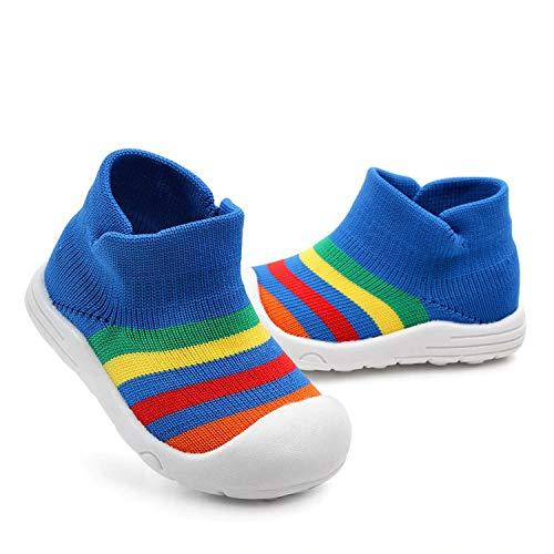 MABES WAREHOUSE Zapatos de bebé coloridos con diseño de arco iris, antideslizantes para recién nacidos, zapatos para caminar para bebés recién nacidos, transpirables, antideslizantes (19, azul)