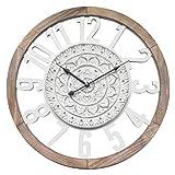 Rebecca Mobili Reloj Colgante, Reloj Decorativo Blanco marrón, Estilo lamentable, Madera MDF, Cocina, Sala de Estar - Medidas: 55 x 55 x 5 cm (HxLxP) - Art. RE6380