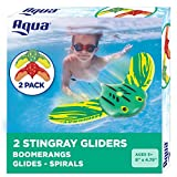 Aqua Mini Stingray Underwater Gliders (2 Pack), Self-Propelled, Adjustable Fins, Travels up to 40 Feet, Pool Game, Ages 5 and up (AQW12988)