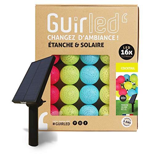 Guirlande d'extérieur boules lumineuses Guinguette LED - Étanche IP65 - Panneau solaire haut rendement - ON/OFF automatique - 16 boules 6m - Cocktail