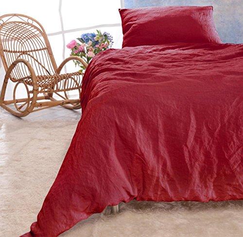 Leinen-Bettwäsche-Set Sintra 100% Leinen aus Portugal, Kissen 80x80cm und Bettbezug 135x200 oder 155x220cm (rot, 135x200cm + Kissen 80x80cm)