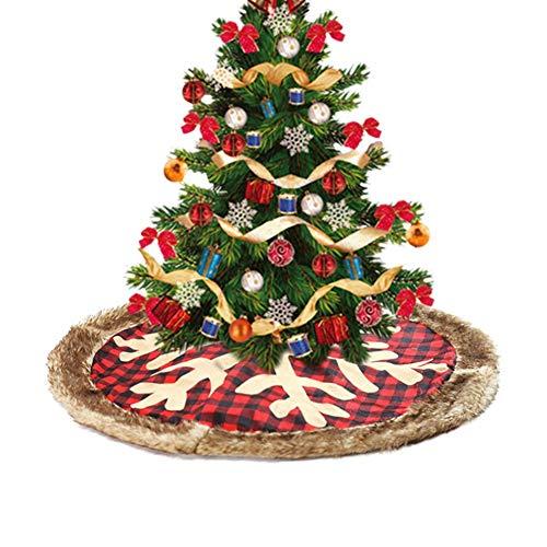 Hankyky Christmas Plaid Tree Rock 35 Zoll rot und schwarz überprüft Plüsch Holiday Icon Weihnachtsbaum Rock mit unsichtbaren Nylonverschluss Weihnachtsbaum dekorative Matte Home Decor Supplies