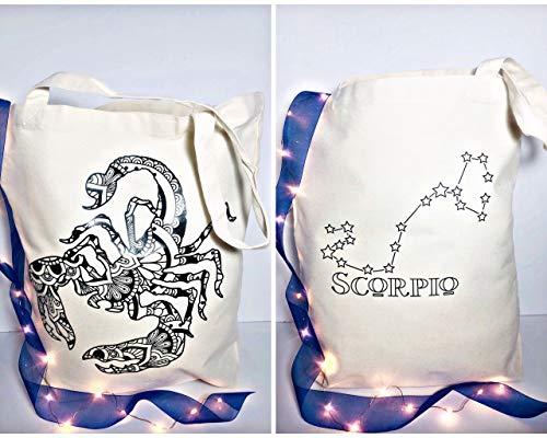 Scorpion Gifts Leinwand-Tragetasche, Horoskop-Druck, Astrologie-Geschenke für beste Freunde und einzigartige Weihnachtsgeschenke