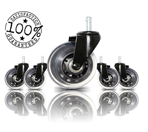 Office Chair Caster Wheels Replacement Set of 5 By BOSS CASTER | Universal Fit | Heavy Duty Wheel with Smooth Rolling Rollerblade Style & Safe for All Floors Including Hardwood Floors & Carpet | Black