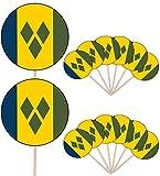 Saint Vincent & die Grenadinen-Flagge für Party, Essen, Kuchen, Cupcakes, Stäbchen, Flaggen, zum Aufstellen (14 Stück)