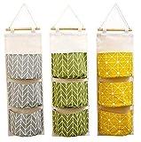 Kaheign 3 piezas colgar en pared bolsa de almacenamiento, 60 x 20cm apilable 3 capas bolsa colgante - impermeable tela de lino organizador de bolsillo ancho para dormitorio baño cocina