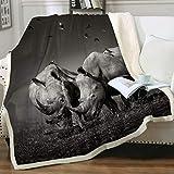 Sleepwish Animals Print Plush Sherpa Throw Blanket for Couch Sofa Nature Wild Rhinoceros Birds Microfiber Fleece Bed Blankets Throw(50'x60')