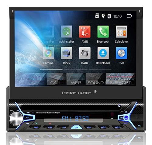 Tristan Auron BT1D7022A Autoradio mit Android 8.1, 7'' Touchscreen Bildschirm, GPS Navigation, Bluetooth Freisprecheinrichtung, Quad Core Prozessor, Mirrorlink, USB, SD, OBD 2, DAB+ I 1 DIN
