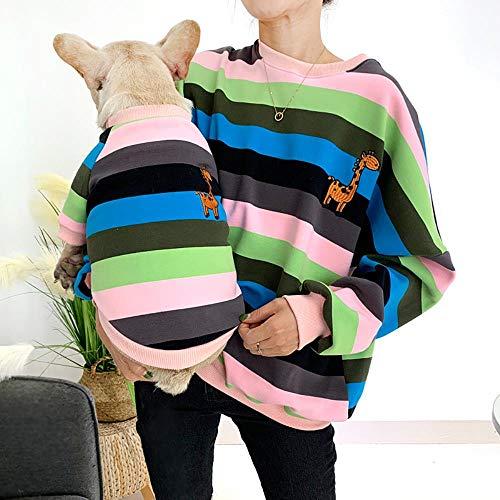 FHKGCD Huisdier Bijpassende Kleding Voor Honden Bulldog Winter Huisdier Hond Kleding Ropa Perro Gestreepte Hond Hoodie Kostuum Voor Honden Jas