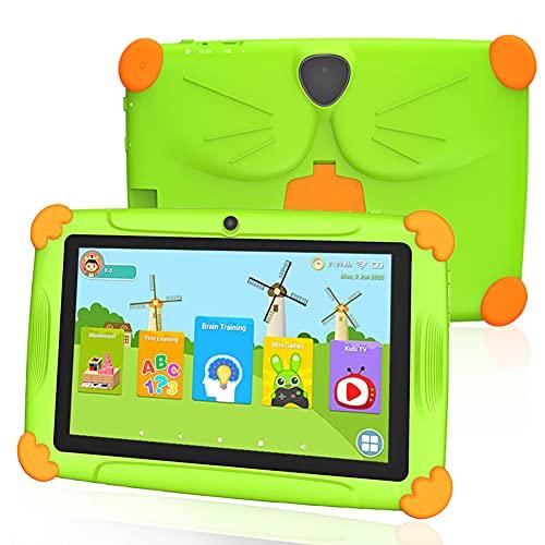 Tablet per Bambini Android 10.0 con WiFi 7 Pollici, 32GB ROM 3GB RAM, 1024 * 600 IPS Certificato da Google GMS & Controllo Parental APP YouTube, Tablets PC Touch per Bambini Bluetooth (Verde)