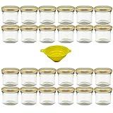 Viva Haushaltswaren G1130125/24T/X Lot de 24 Petits Pots de Confiture avec Couvercle doré 125 ML + Entonnoir Jaune avec système de Blocage