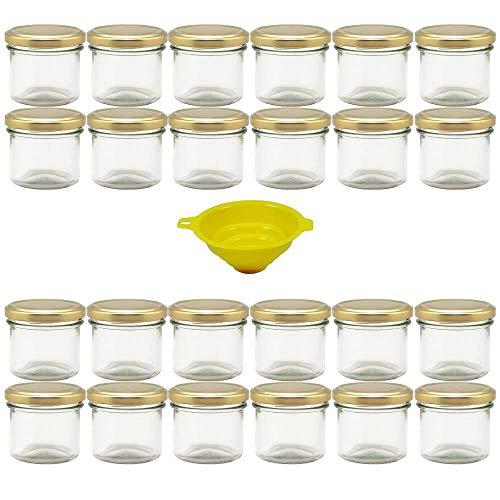 Viva hushållsartiklar – 24 st. marmoradglas 125 ml med guldfärgad förslutning, runda hålglasögon som engångsglas, kryddglas, glasburkar etc. Kan användas (inklusive tratt)