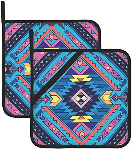 Manoplas de horno azteca coloridos para cocina y comedor en casa